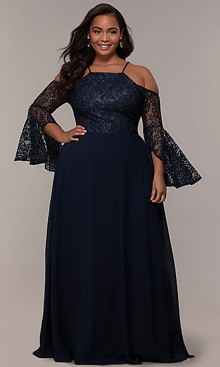 Sleeved Cold-Shoulder Long Plus-Size Formal Dress