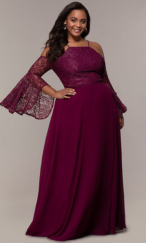 Image of sleeved cold-shoulder long plus-size formal dress. Style: LP-25858P Front Image