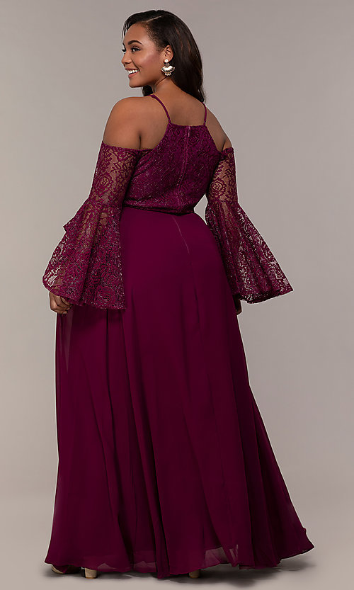 Image of sleeved cold-shoulder long plus-size formal dress. Style: LP-25858P Back Image