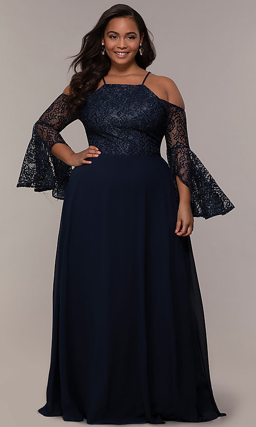 Bell-Sleeve Cold-Shoulder Long Plus-Size Prom Dress
