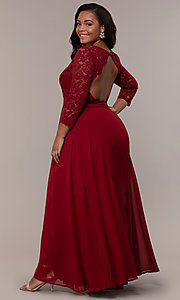 Image of lace-bodice plus-size long formal dress with sleeves. Style: LP-27698P Detail Image 7