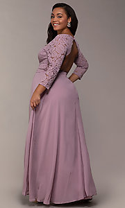 Image of lace-bodice plus-size long formal dress with sleeves. Style: LP-27698P Detail Image 3