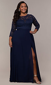 Image of lace-bodice plus-size long formal dress with sleeves. Style: LP-27698P Front Image
