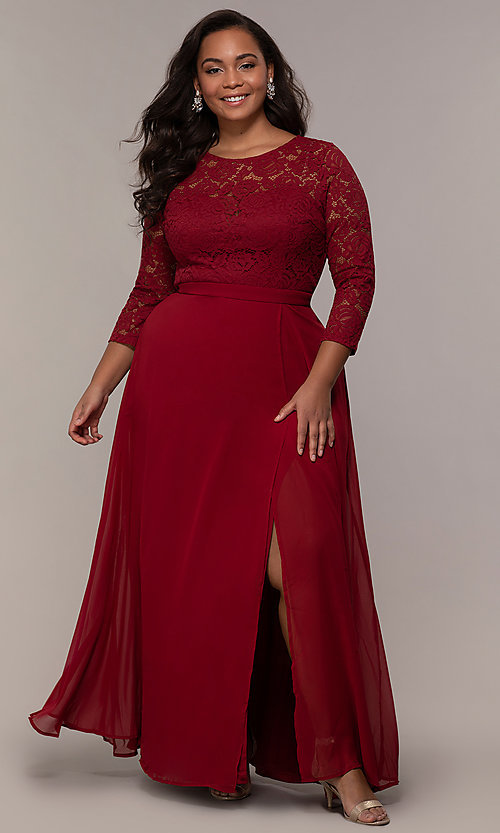 Image of lace-bodice plus-size long formal dress with sleeves. Style: LP-27698P Detail Image 6