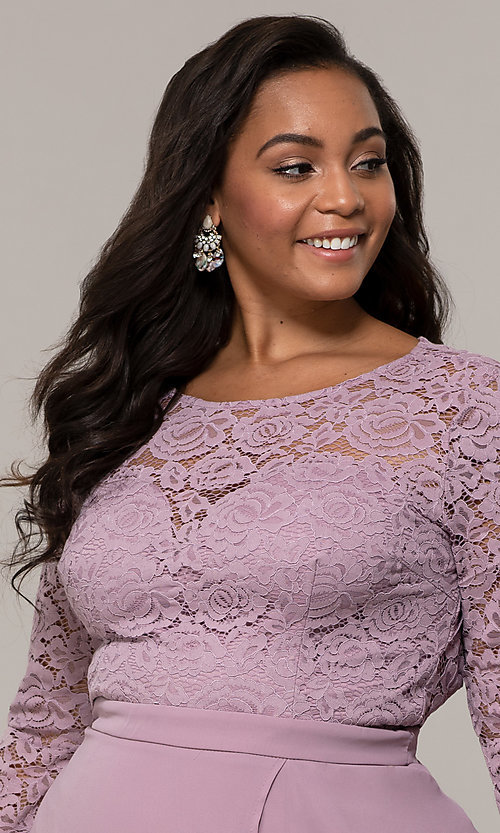 Image of lace-bodice plus-size long formal dress with sleeves. Style: LP-27698P Detail Image 2