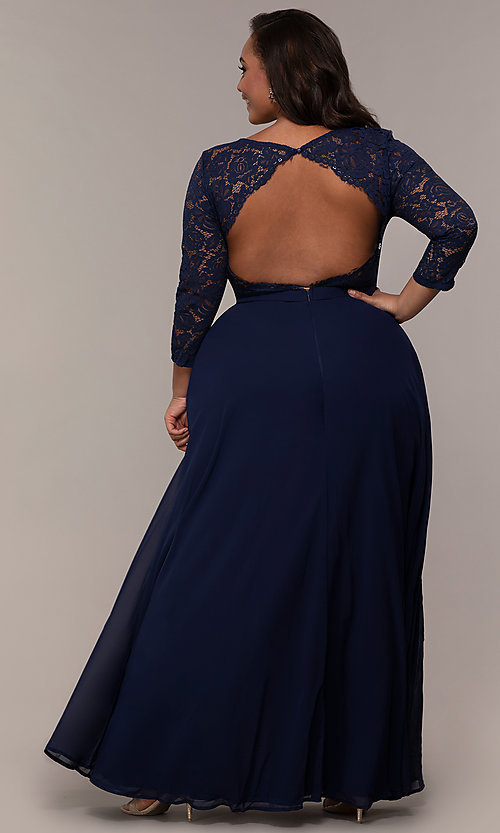 Image of lace-bodice plus-size long formal dress with sleeves. Style: LP-27698P Back Image