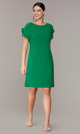 Short Green Wedding-Guest Shift Dress with Sleeves