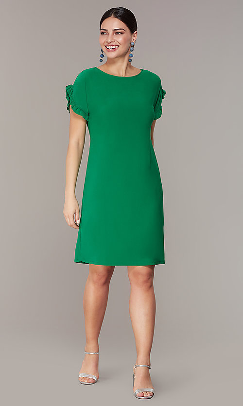 Short Green Wedding Guest Shift Dress With Sleeves
