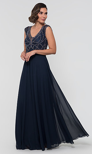 Beaded Cap Sleeve Formal MOB Dress