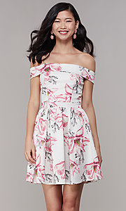 Image of off-shoulder floral-print short grad party dress. Style: DC-D46643 Front Image