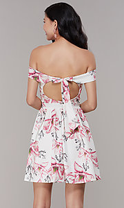 Image of off-shoulder floral-print short grad party dress. Style: DC-D46643 Back Image