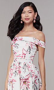 Image of off-shoulder floral-print short grad party dress. Style: DC-D46643 Detail Image 1
