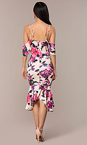 Image of cold-shoulder wedding-guest floral-print dress. Style: DC-D46646 Detail Image 5