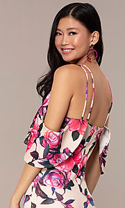 Image of cold-shoulder wedding-guest floral-print dress. Style: DC-D46646 Detail Image 7