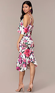 Image of cold-shoulder wedding-guest floral-print dress. Style: DC-D46646 Back Image