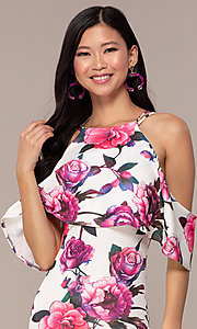 Image of cold-shoulder wedding-guest floral-print dress. Style: DC-D46646 Detail Image 1