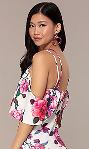 Image of cold-shoulder wedding-guest floral-print dress. Style: DC-D46646 Detail Image 2