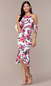 Image of cold-shoulder wedding-guest floral-print dress. Style: DC-D46646 Detail Image 3