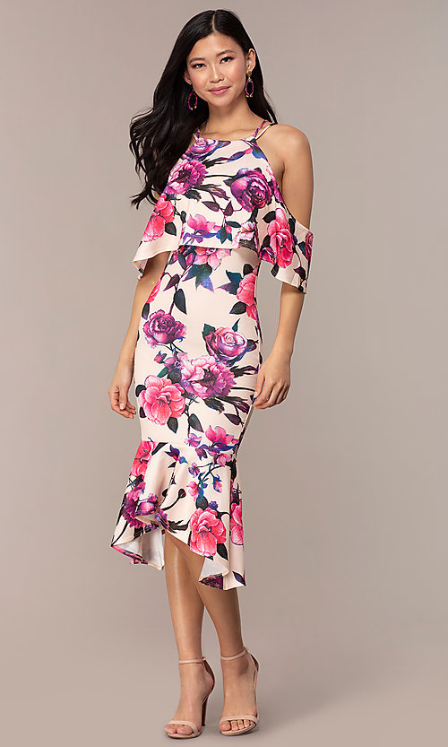 Image of cold-shoulder wedding-guest floral-print dress. Style: DC-D46646 Detail Image 4