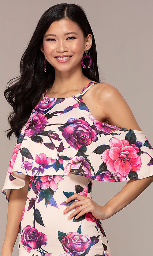 Image of cold-shoulder wedding-guest floral-print dress. Style: DC-D46646 Detail Image 6