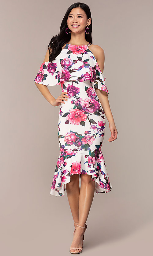 Image of cold-shoulder wedding-guest floral-print dress. Style: DC-D46646 Front Image