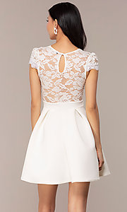 Image of lace-bodice cap-sleeve short graduation dress. Style: DC-D47163 Back Image