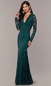Image of long formal lace v-neck backless evening dress. Style: CL-47136 Front Image
