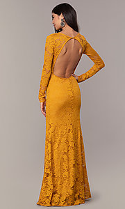 Image of long formal lace v-neck backless evening dress. Style: CL-47136 Detail Image 2
