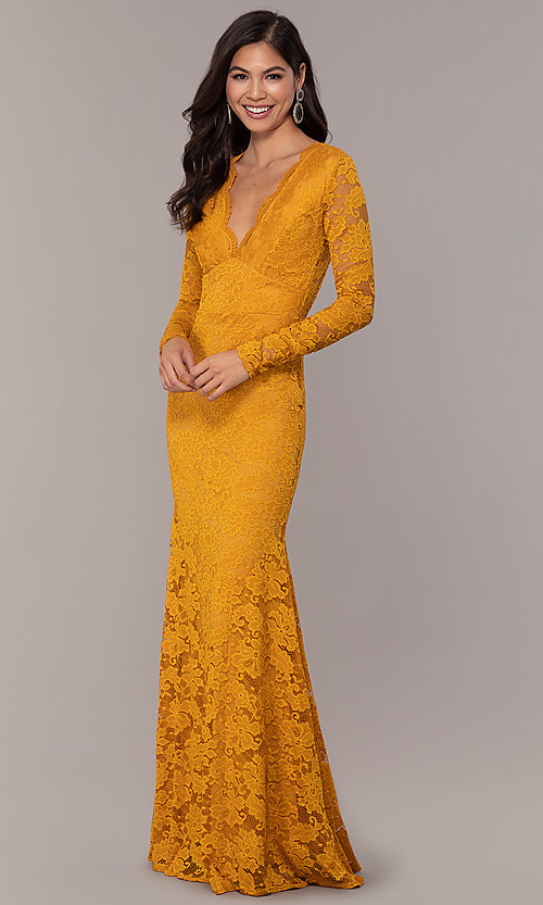 Image of long formal lace v-neck backless evening dress. Style: CL-47136 Detail Image 1