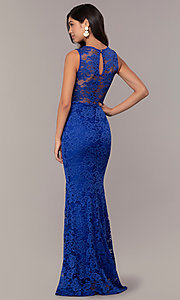 Image of sexy long lace formal dress with sheer back. Style: CL-46815 Back Image