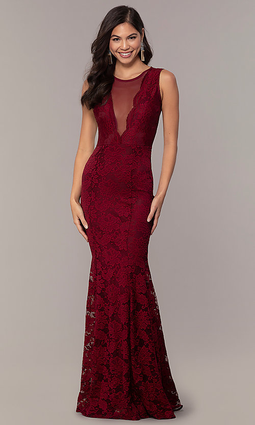 Image of sexy long lace formal dress with sheer back. Style: CL-46815 Detail Image 3