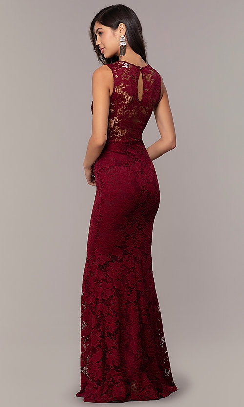Image of sexy long lace formal dress with sheer back. Style: CL-46815 Detail Image 4