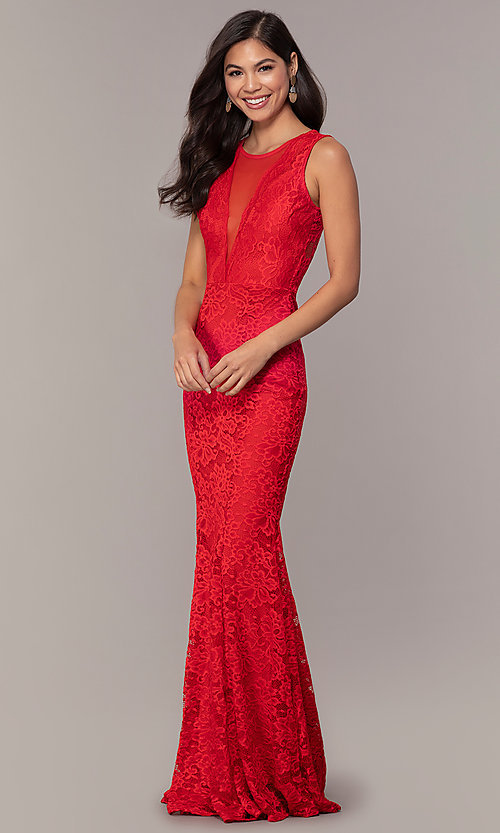 Image of sexy long lace formal dress with sheer back. Style: CL-46815 Detail Image 1