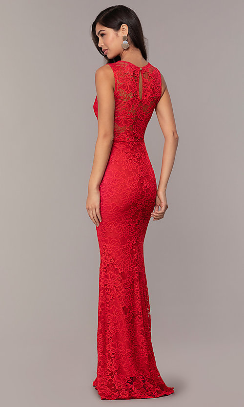 Image of sexy long lace formal dress with sheer back. Style: CL-46815 Detail Image 2