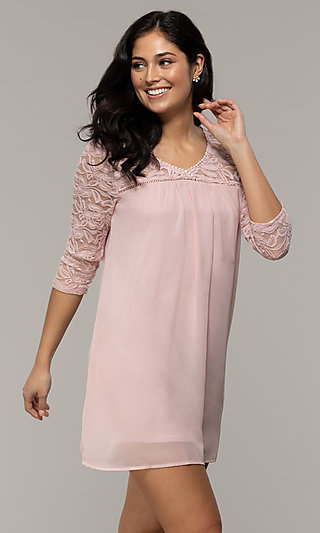 Short Chiffon Shift Party Dress with Lace Sleeves