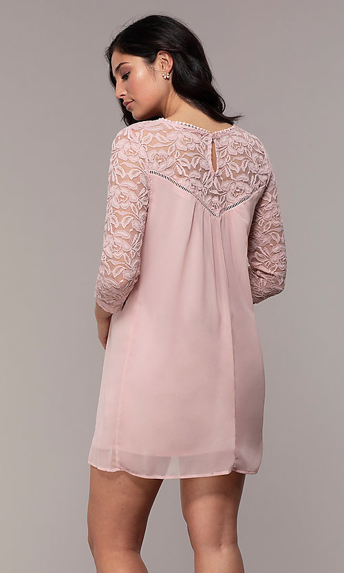 Image of short chiffon shift party dress with lace sleeves. Style: AS-A9391104 Back Image