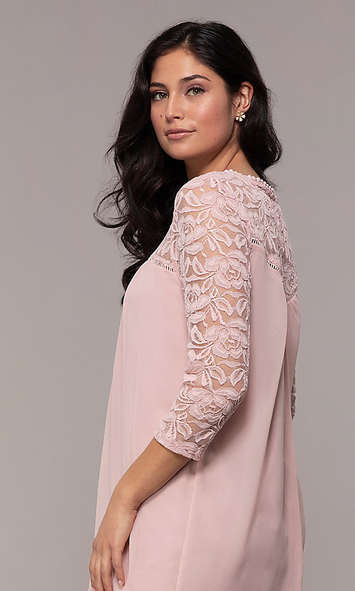 Image of short chiffon shift party dress with lace sleeves. Style: AS-A9391104 Detail Image 2