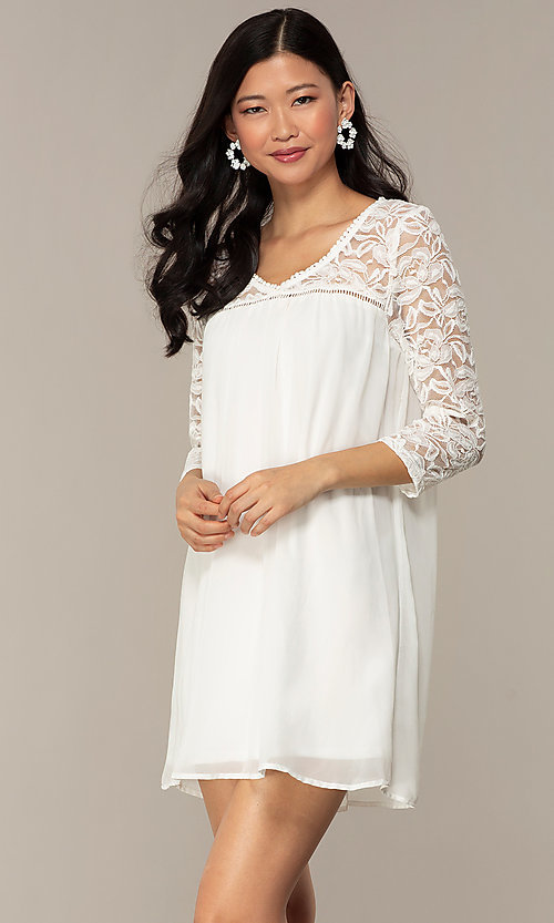 Image of short chiffon shift party dress with lace sleeves. Style: AS-A9391104 Detail Image 6