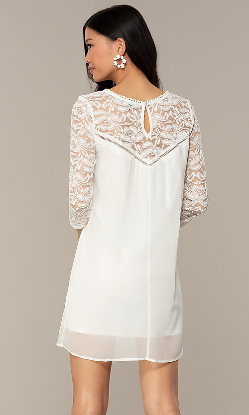 Image of short chiffon shift party dress with lace sleeves. Style: AS-A9391104 Detail Image 7