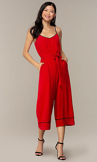 Scoop Neck Jumpsuit with Wide Cropped Legs