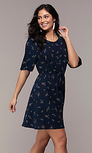 Image of floral-print short-sleeve navy blue party dress. Style: AS-A139547A31 Front Image