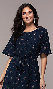 Image of floral-print short-sleeve navy blue party dress. Style: AS-A139547A31 Detail Image 1