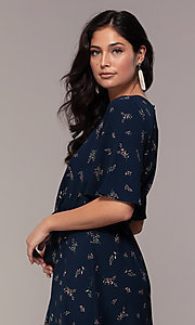 Image of floral-print short-sleeve navy blue party dress. Style: AS-A139547A31 Detail Image 2