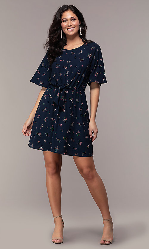 Image of floral-print short-sleeve navy blue party dress. Style: AS-A139547A31 Detail Image 3
