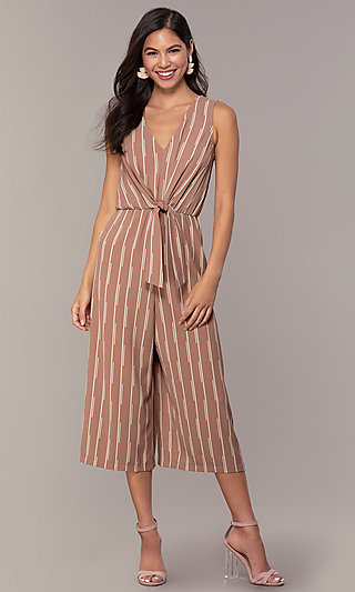 Striped V-Neck Cropped Leg Party Jumpsuit