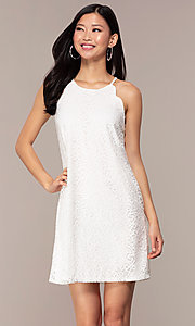 Image of graduation short white lace shift party dress. Style: AS-A46914A55 Front Image
