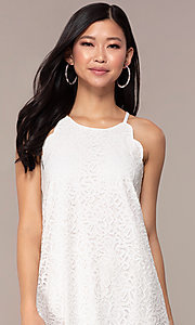 Image of graduation short white lace shift party dress. Style: AS-A46914A55 Detail Image 1