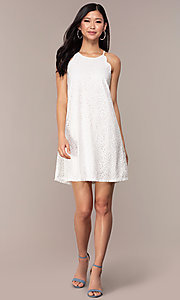 Image of graduation short white lace shift party dress. Style: AS-A46914A55 Detail Image 3