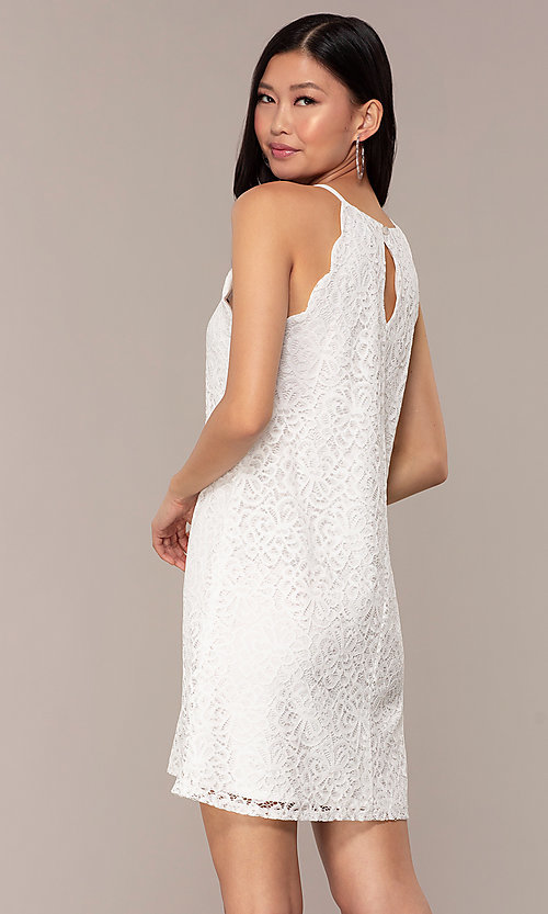 Image of graduation short white lace shift party dress. Style: AS-A46914A55 Back Image