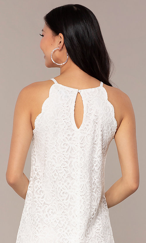 Image of graduation short white lace shift party dress. Style: AS-A46914A55 Detail Image 2